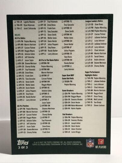 2007 Topps Football Checklist