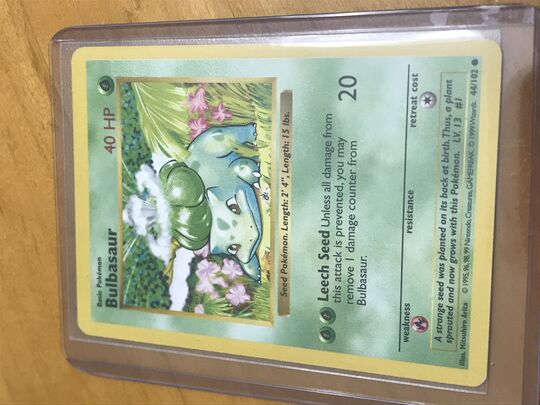 1999 Shadowless Base Set Bulbasaur 44/102