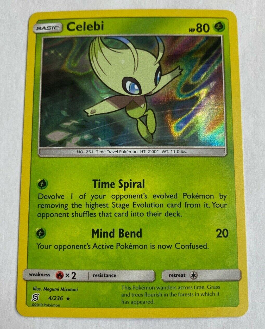 4//236 Reverse Foil - SM Unified Minds Pokemon Holo Rare Celebi
