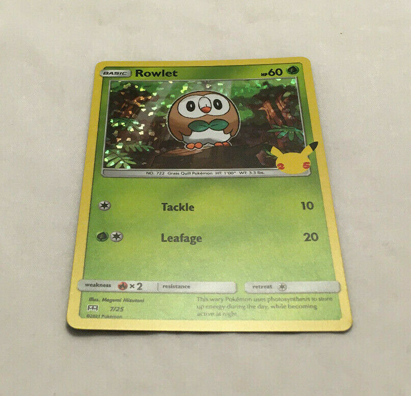 Pokemon Trading Card Game TCG McDonald's 25th Anniversary Rowlet Holo 7/25