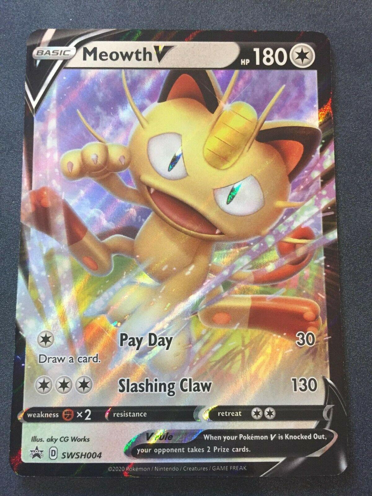 SWSH004 Meowth VBlack Star Promo Card Holo Rare Pokemon Trading Card Game TCG
