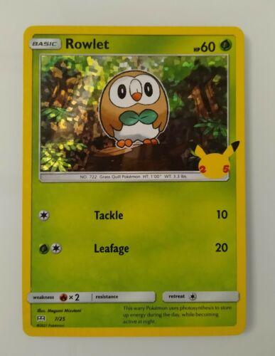 Pokemon TCG McDonald's 25th Anniversary Rowlet Holo 7/25 MINT