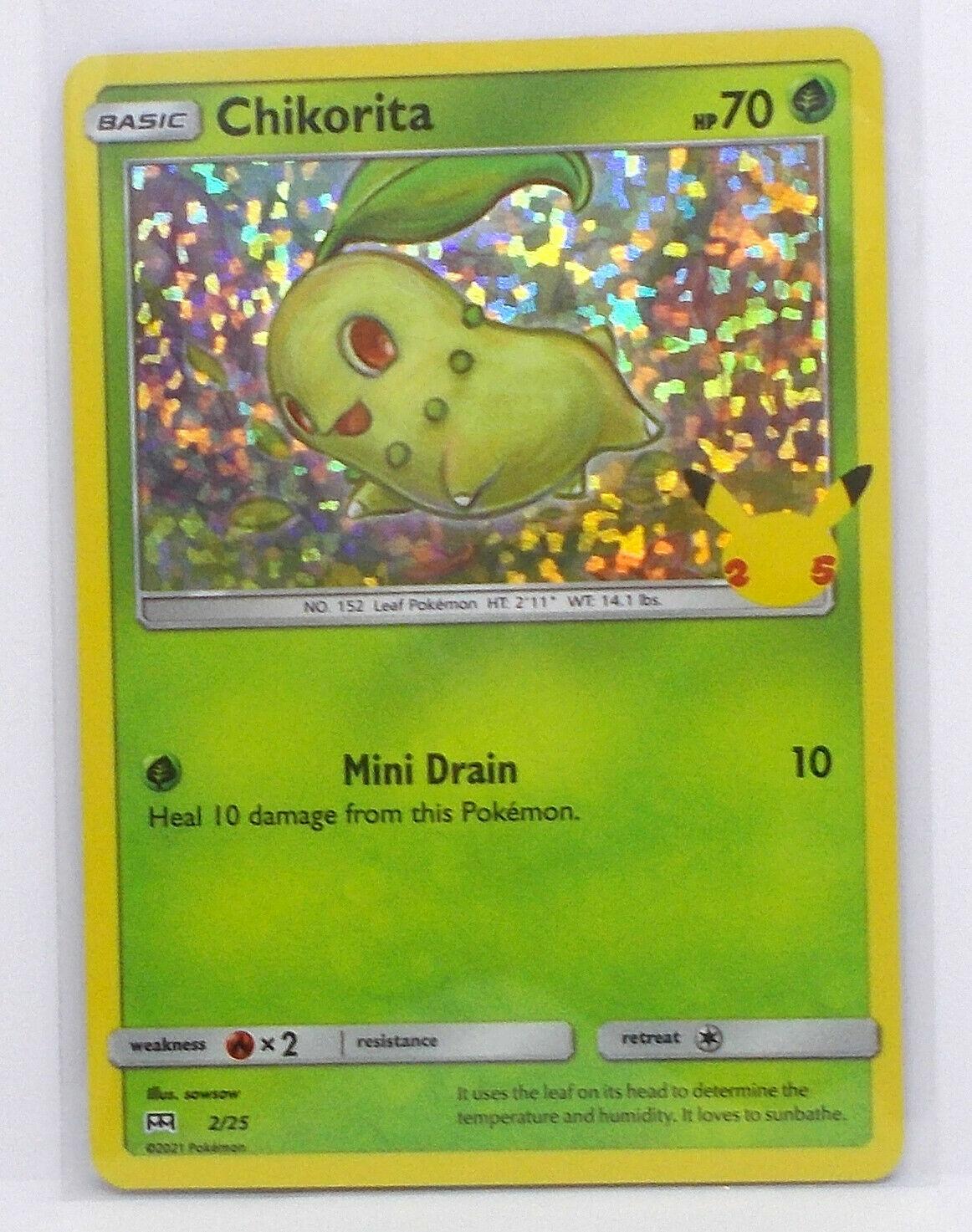 2/25 CHIKORITA Pokemon McDonald's Promo Holo Foil Card VNM-Mint