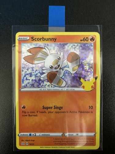 Pokemon Scorbunny 16/25 HOLO McDonald's 25th Anniversary Stamped Promo Card