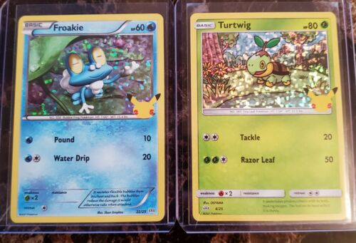 Turtwig/Froakie Holographic Pokemon Cards, McDonald's 25th #22/25, 4/25