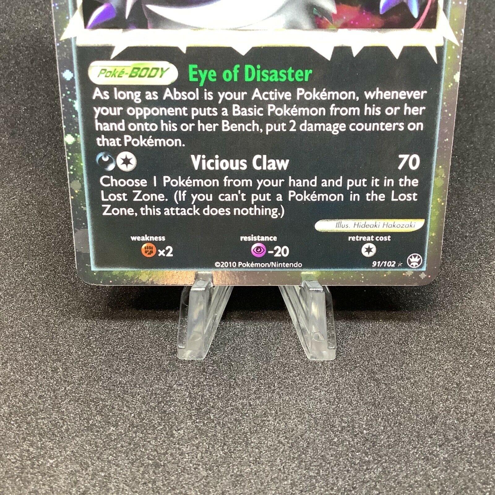 Absol Prime HGSS Triumphant 91/102 Holo Rare Pokemon Card NM - Image 3