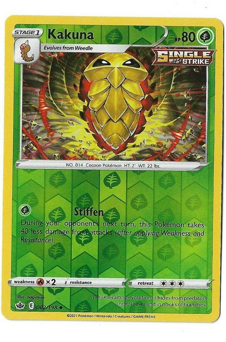 Pokemon Trading card game Chilling reign reverse holo Kakuna 002/198 NM