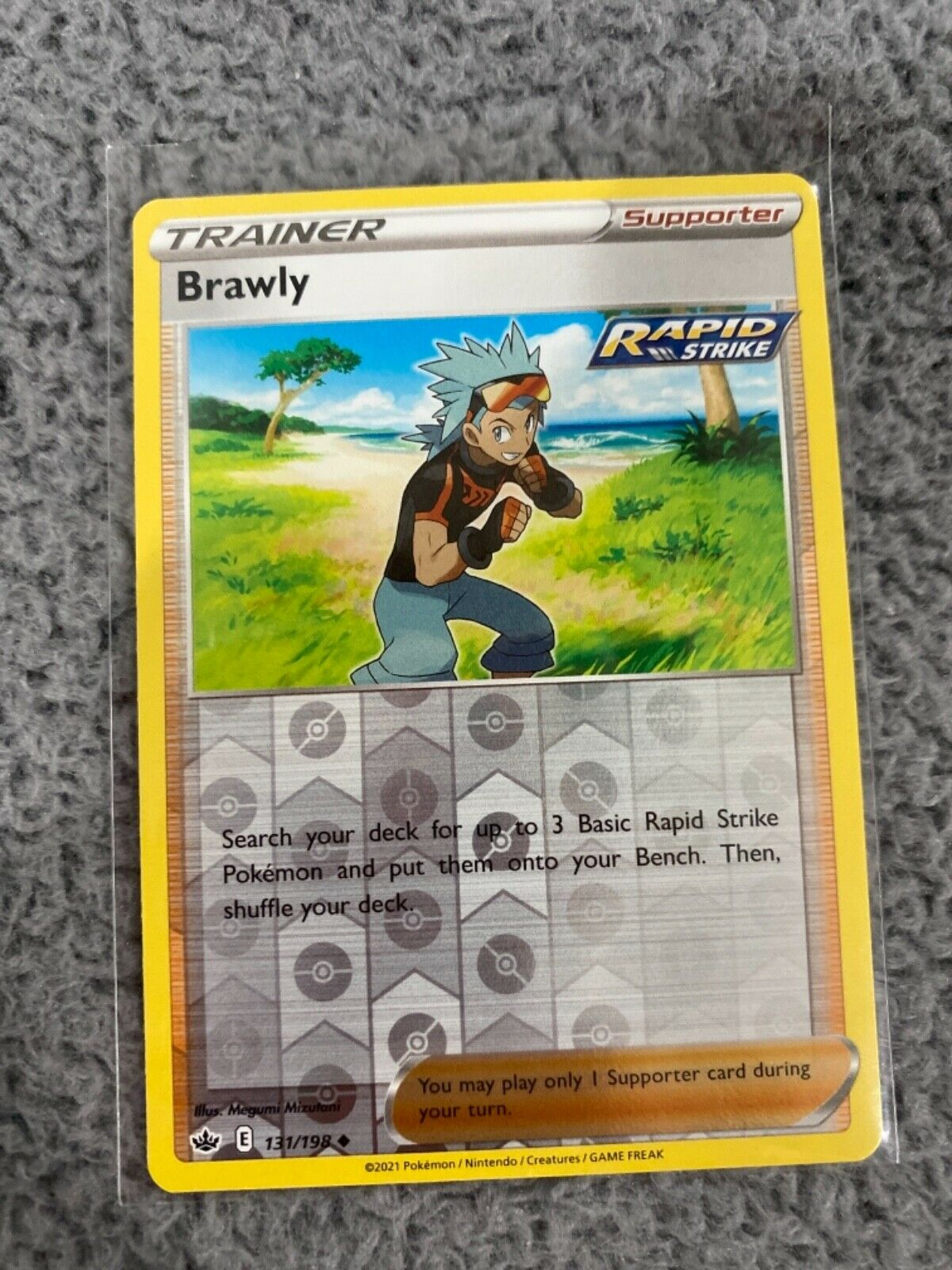 Pokemon TCG Chilling reign reverse holo Brawly Trainer Supporter 131/198 NM