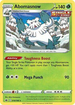 x1 Abomasnow - 010/198 - Rare - Reverse Holo Pokemon SS06 Chilling Reign M/NM