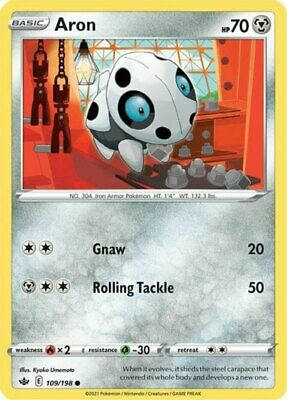 4x Aron - 109/198 - Common NM-Mint Pokemon SWSH6 - Chilling Reign