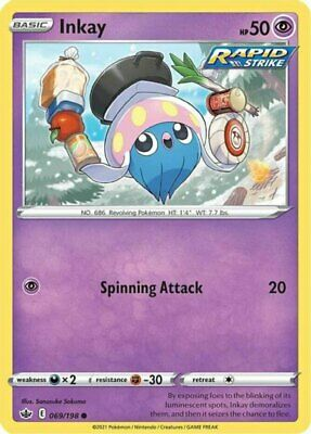 x4 Inkay - 069/198 - Common - Reverse Holo Pokemon SS06 Chilling Reign M/NM