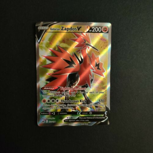 Galarian Zapdos V 173/198 NM Mint Chilling Reign Full Art Rare Holo Pokemon Card - Image 1