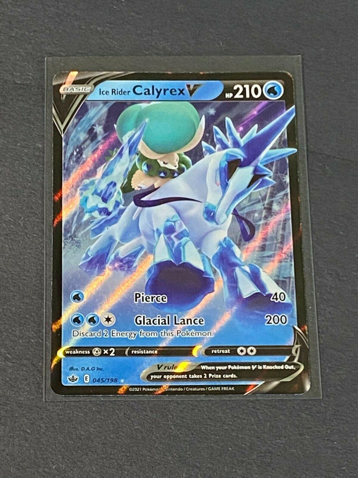 Ice Rider Calyrex V 045/198 Chilling Reign Rare Holo Pokemon TCG