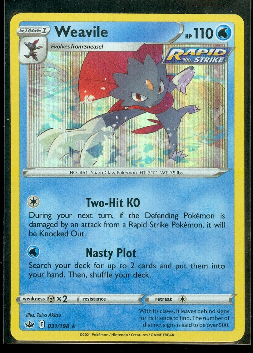 Pokemon WEAVILE 031/198 Chilling Reign - RARE HOLO - - MINT