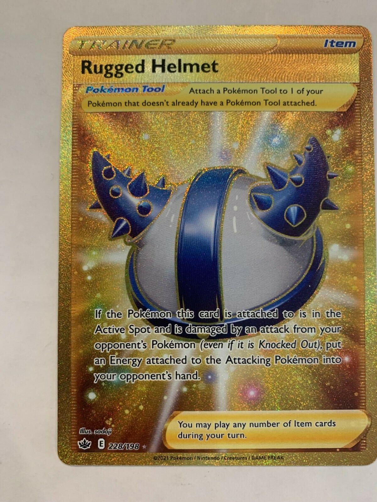 Pokemon Rugged Helmet Chilling Reign Secret Rare Gold 228/198 - NM