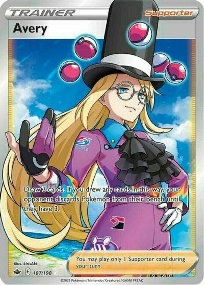Pokemon - Avery - 187/198 - Full Art - Chilling Reign - NM/M