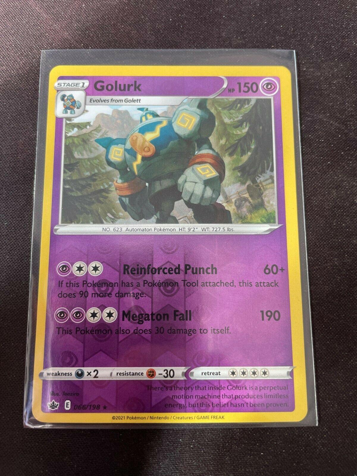 Pokemon TCG Chilling Reign 066/198 Golurk Card Fresh Reverse Holo Mint Rare