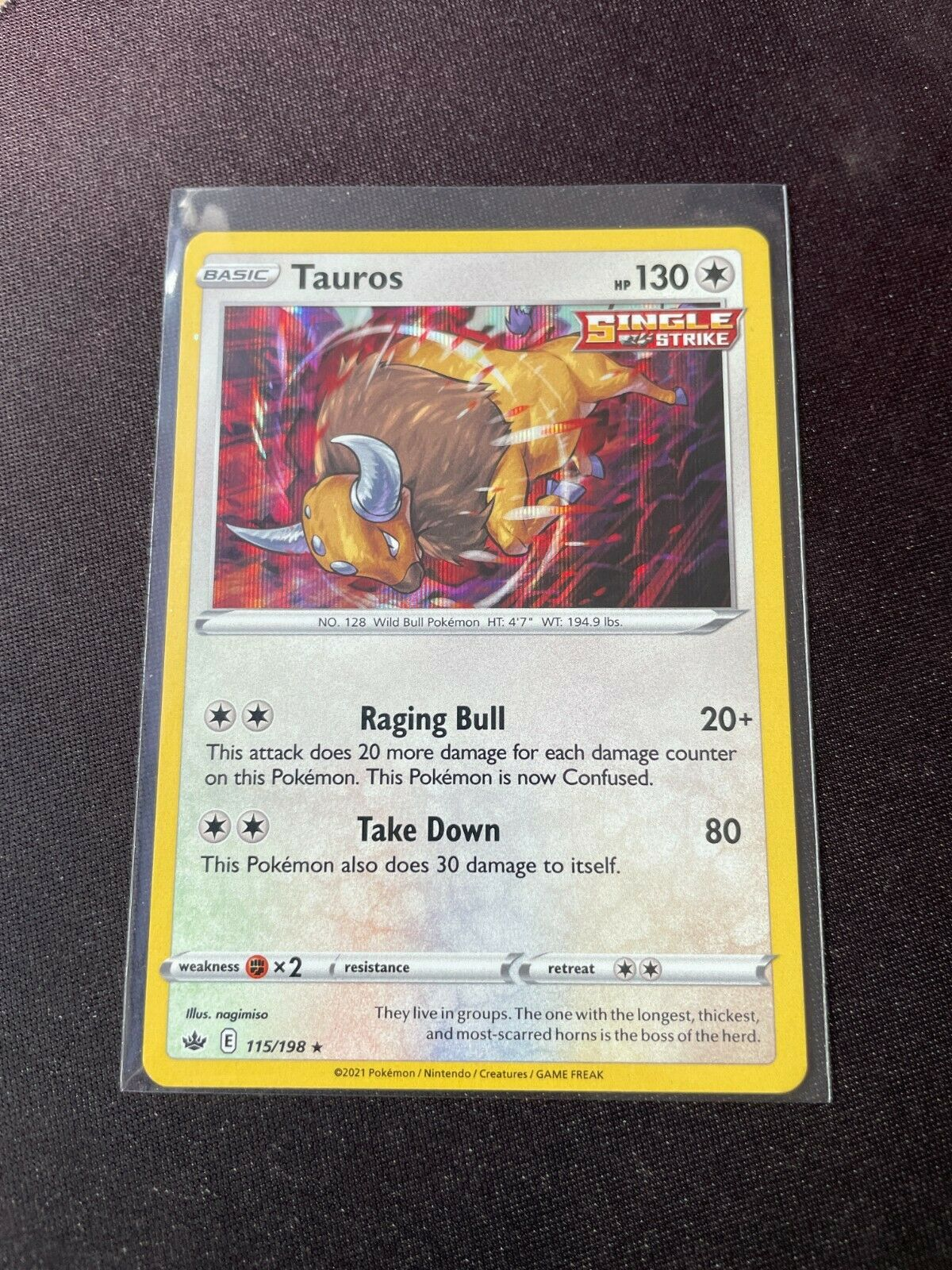 Pokemon TCG Chilling Reign 115/198 Tauros Card Holo Holographic Mint Rare