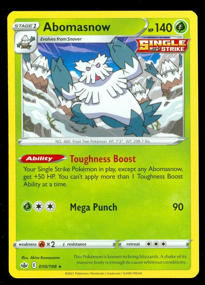 Pokemon ABOMASNOW 010/198 Chilling Reign - RARE - - MINT