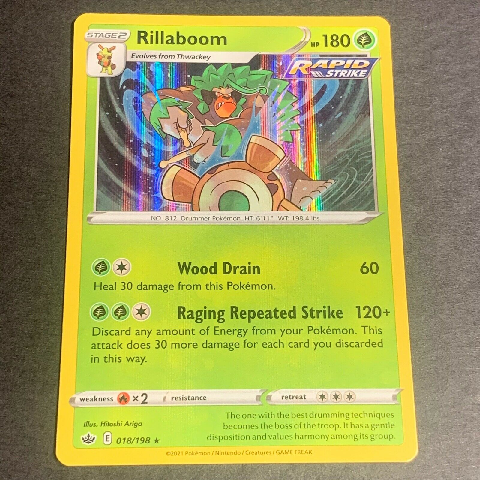 Pokemon S&S Chilling Reign Set HOLOGRAPHIC Rillaboom 018/198 - Near Mint (NM)