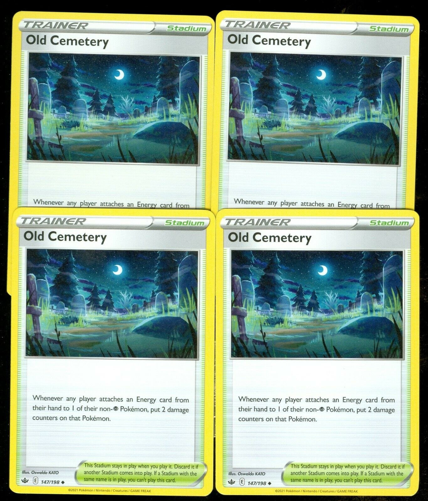 Pokemon OLD CEMETERY 147/198 Chilling Reign - - MINT 4X