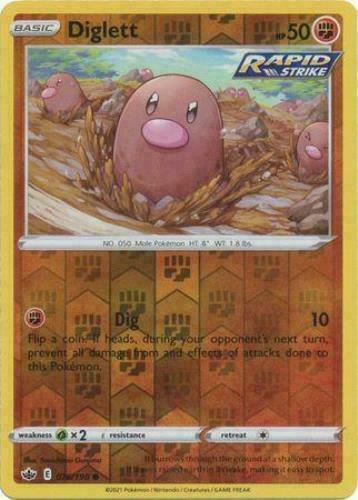 Diglett 076/198 Reverse Holo SWSH Chilling Reign Pokemon Card MINT
