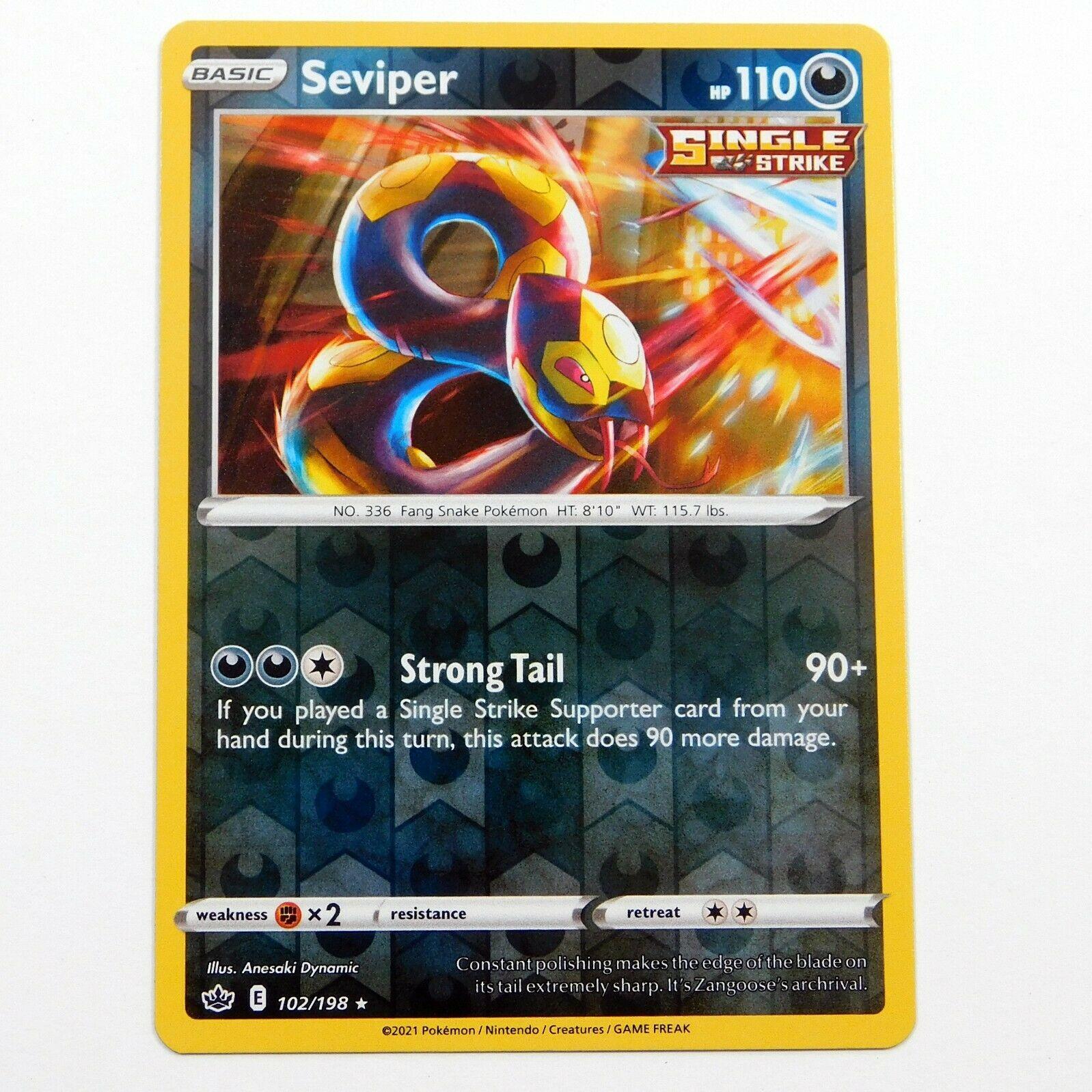 Seviper 102/198 Rare Reverse Holo Chilling Reign Pokemon Card NM/M