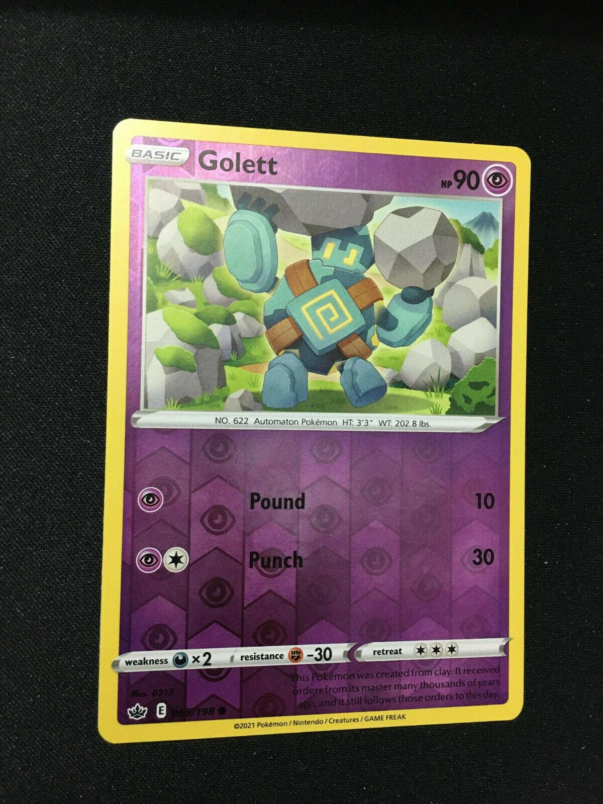 Pokemon TCG Golett Reverse Holo Card Chilling Reign SWSH06 065/198