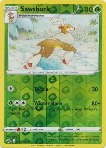 Pokemon - Sawsbuck - 012/198 - Reverse Holo Rare - Chilling Reign - NM/M