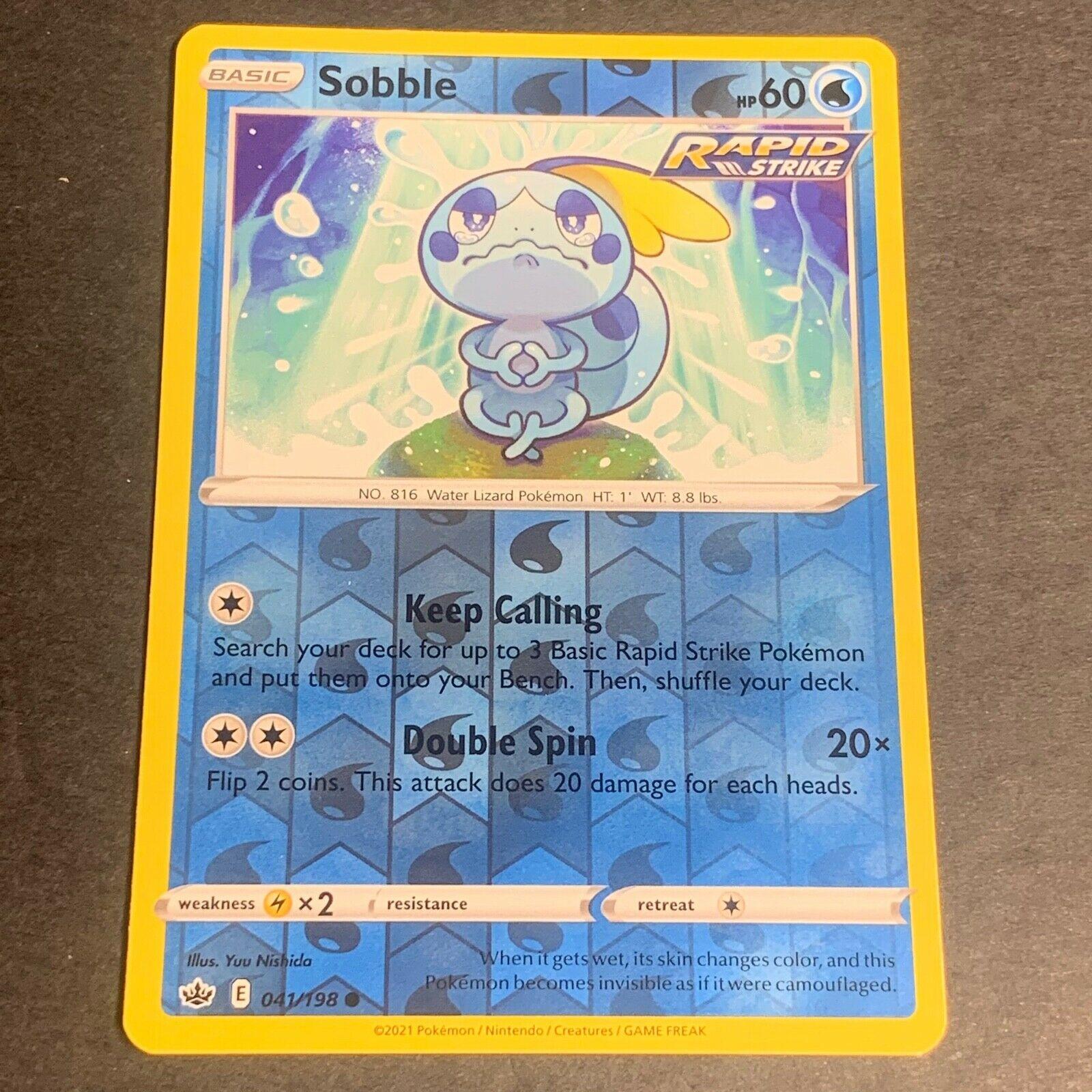 Pokemon S&S Chilling Reign Set REVERSE HOLO (C.) Sobble 041/198 - Near Mint (NM)