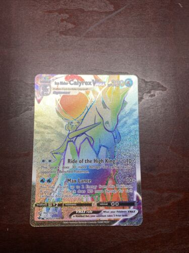 Ice Rider Calyrex Vmax Rainbow Rare 202/198 Chilling Reign Pokemon NM**SLEEVED**