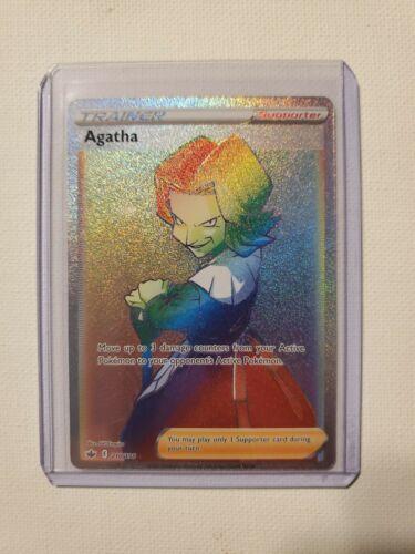 Pokemon Agatha Rainbow Rare Chilling Reign 210/198 Secret Rare Potential 10