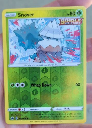 Snover Reverse Holo 009/198 Pokemon Card Sword Shield Chilling Reign TCG Strike