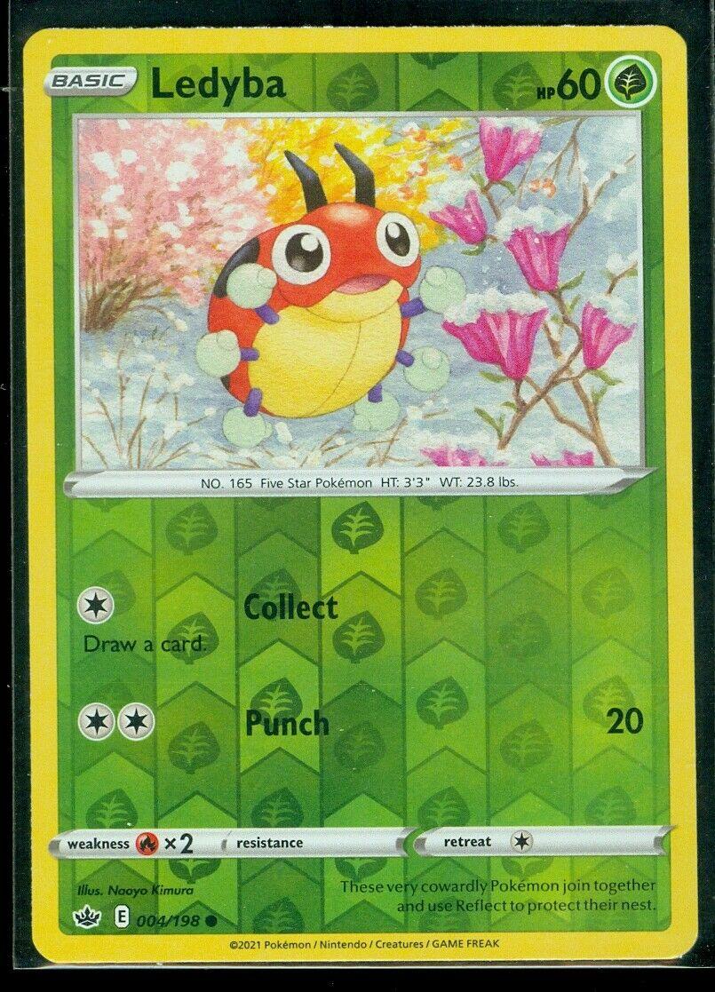 Pokemon LEDYBA 004/198 Chilling Reign - Rev Holo - - MINT