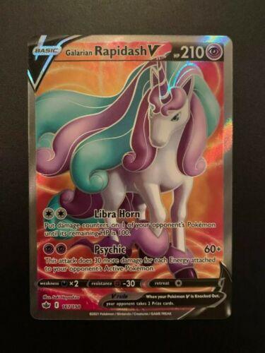 Galarian Rapidash V 167/198 Full Art Ultra Rare Pokemon Card Chilling Reign MINT - Image 1