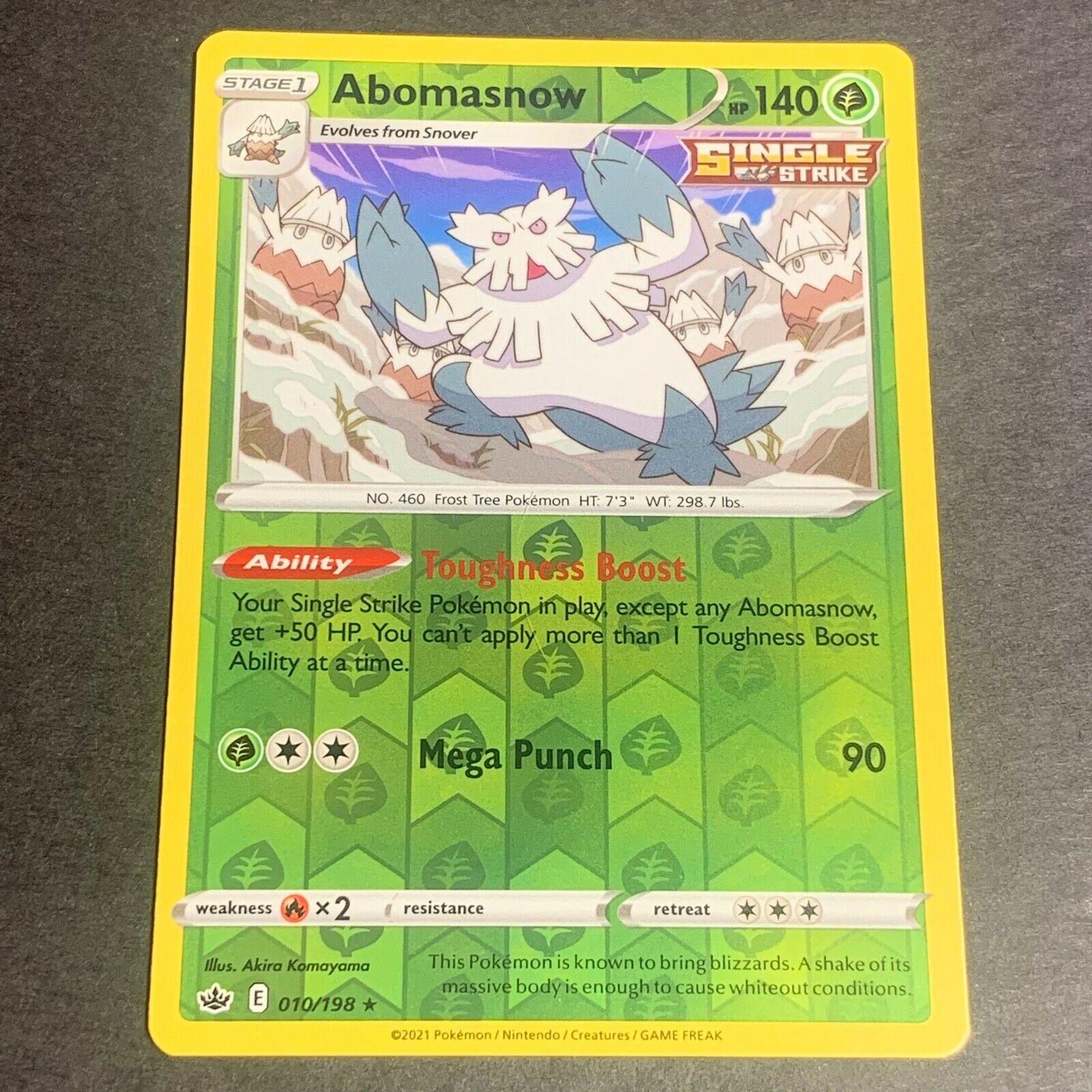 Pokemon S&S Chilling Reign REVERSE HOLO (R.) Abomasnow 010/198 - Near Mint (NM)