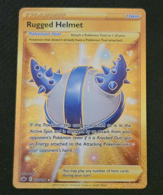 Pokemon Rugged Helmet Full Art Gold Secret Rare Chilling Reign NM 228/198