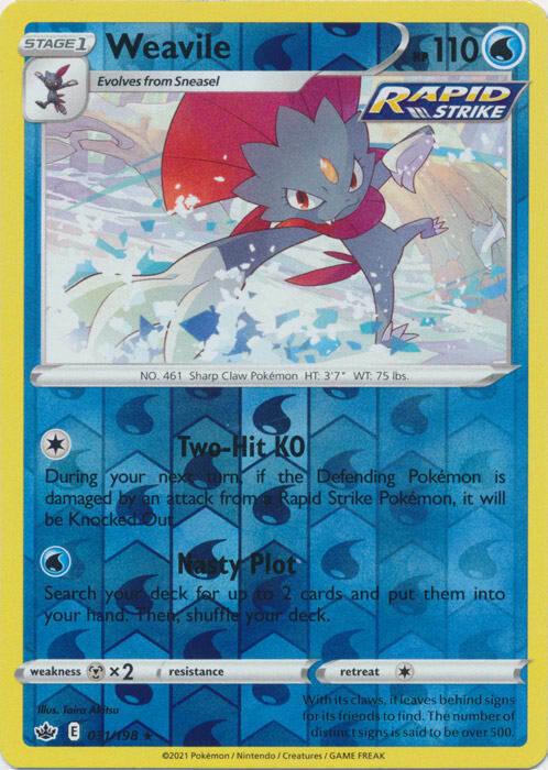 Pokemon - Weavile - 031/198 - Reverse Holo Rare - Chilling Reign - NM/M