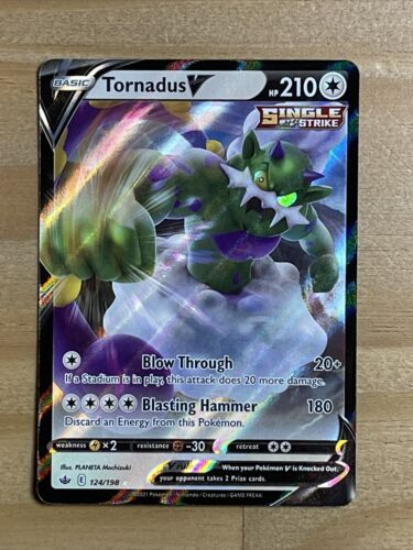Pokemon Tornadus V 124/198 Ultra Rare Chilling Reign NEW IN-HAND