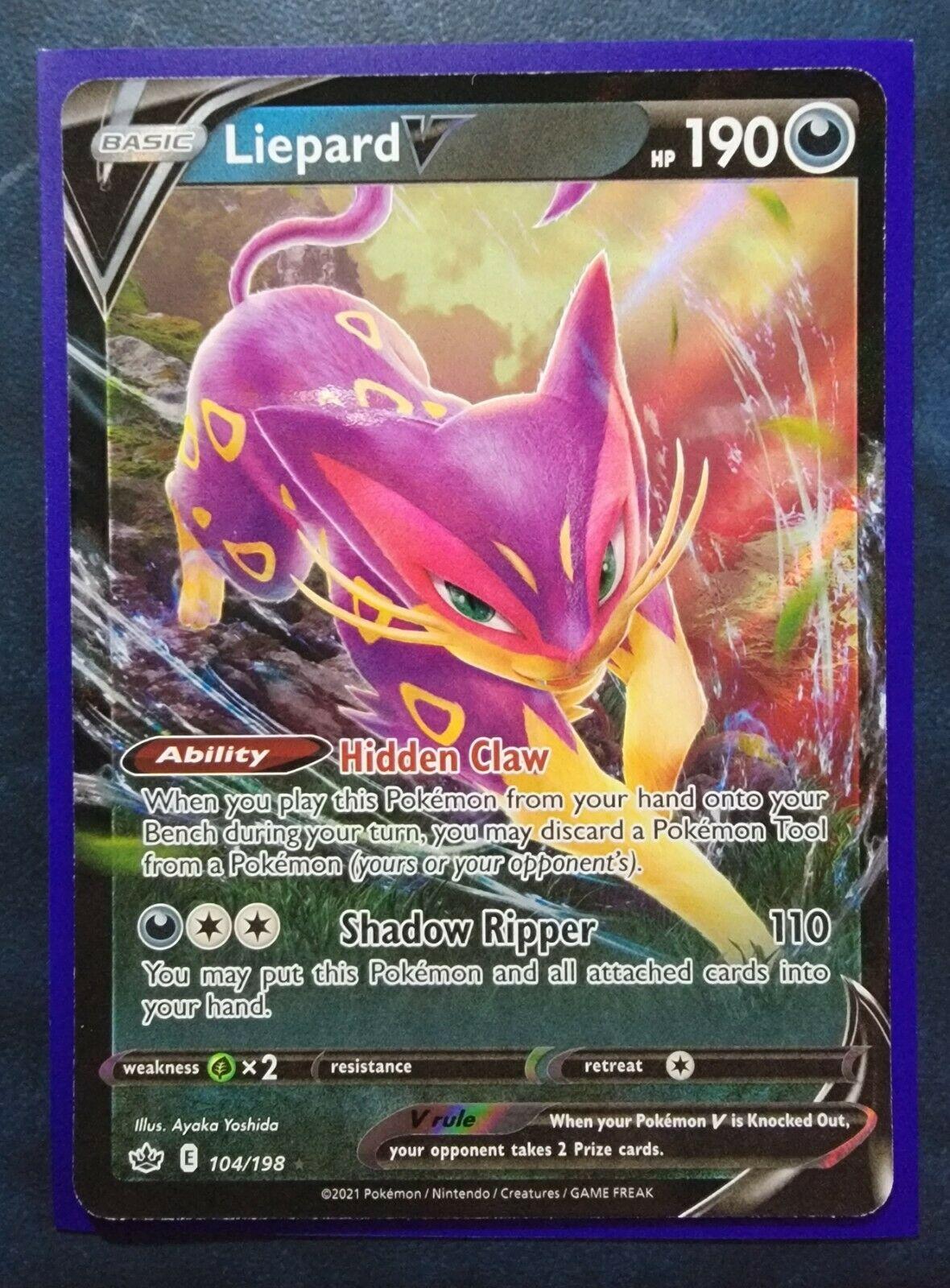 Liepard V Ultra Rare - 104/198 Pokemon TCG Chilling Reign NM