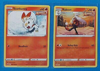 Raboot 027/198, Scorbunny 026/198, Larvesta 023/198 card Chilling Reign NM