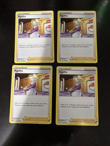 4x Agatha 129/198 Uncommon Pokemon Chilling Reign Playset - NM/M 4x