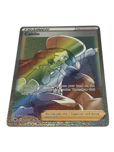 Caitlin FULL ART RAINBOW SECRET RARE 213/198 Pokemon Card 2021 Chilling Reign