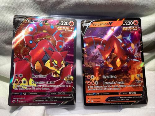 Pokemon TCG Chilling Reign Ultra Rare Full Art Volcanion V 162/198 + 25/198 Mint