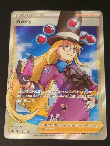 Pokemon Avery 187/198 Full Art Ultra Rare Chilling Reign