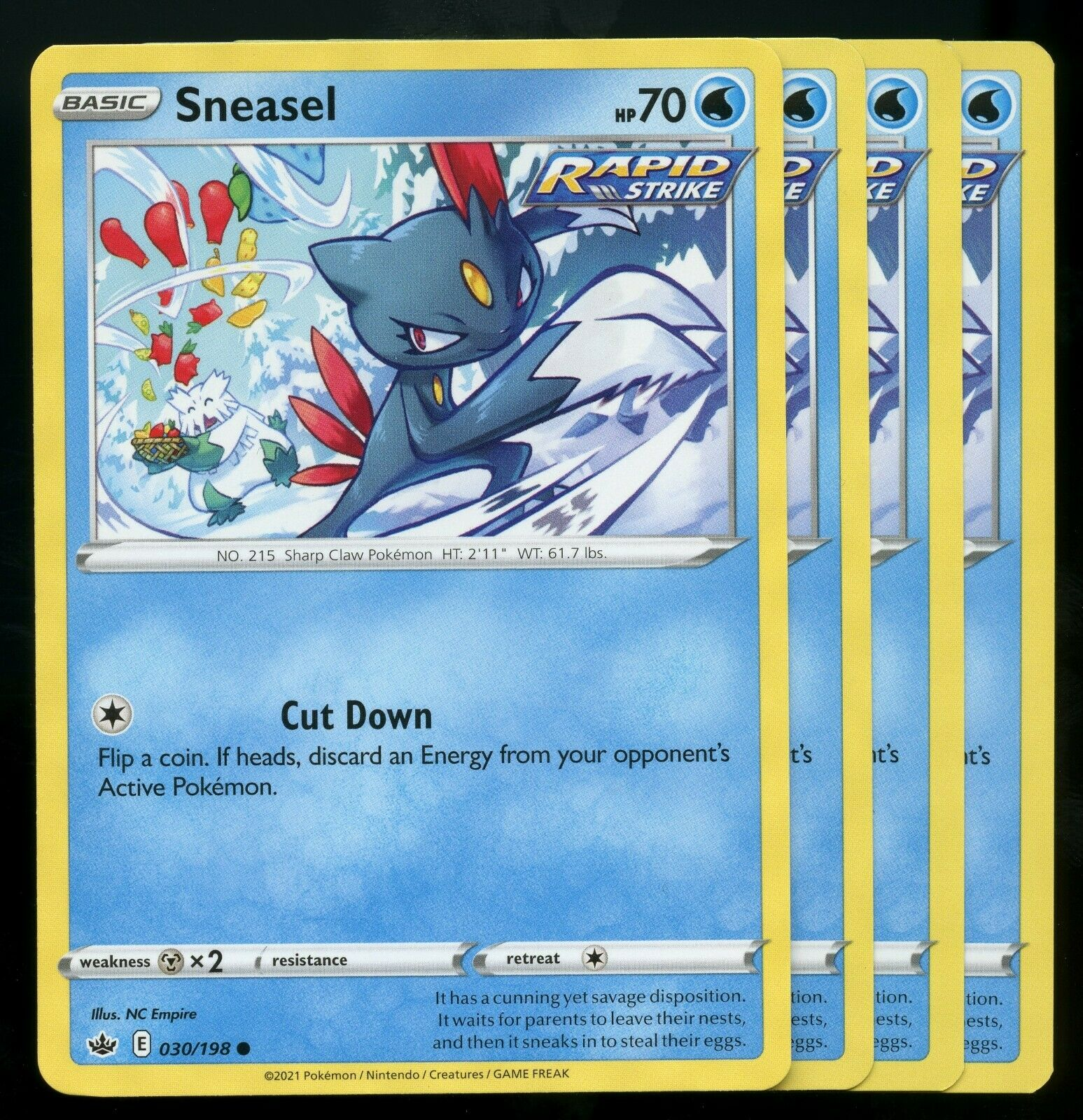 Pokemon Cards x4 Sneasel 030/198 Chilling Reign Playset Excellent