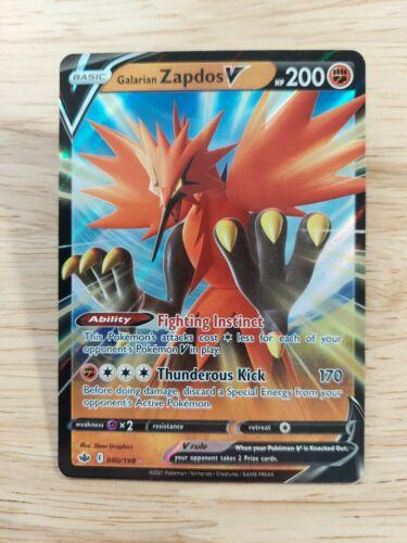 Galarian Zapdos V 080/198 Chilling Reign NM Full Art Ultra Rare Pokemon Card