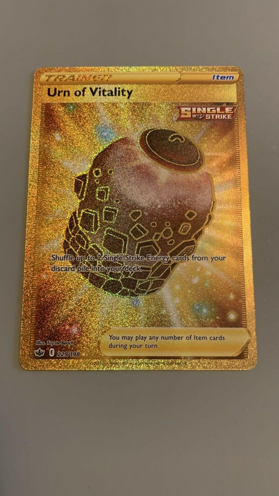 Pokemon Chilling Reign Urn of Vitality Gold Secret Rare 229/198