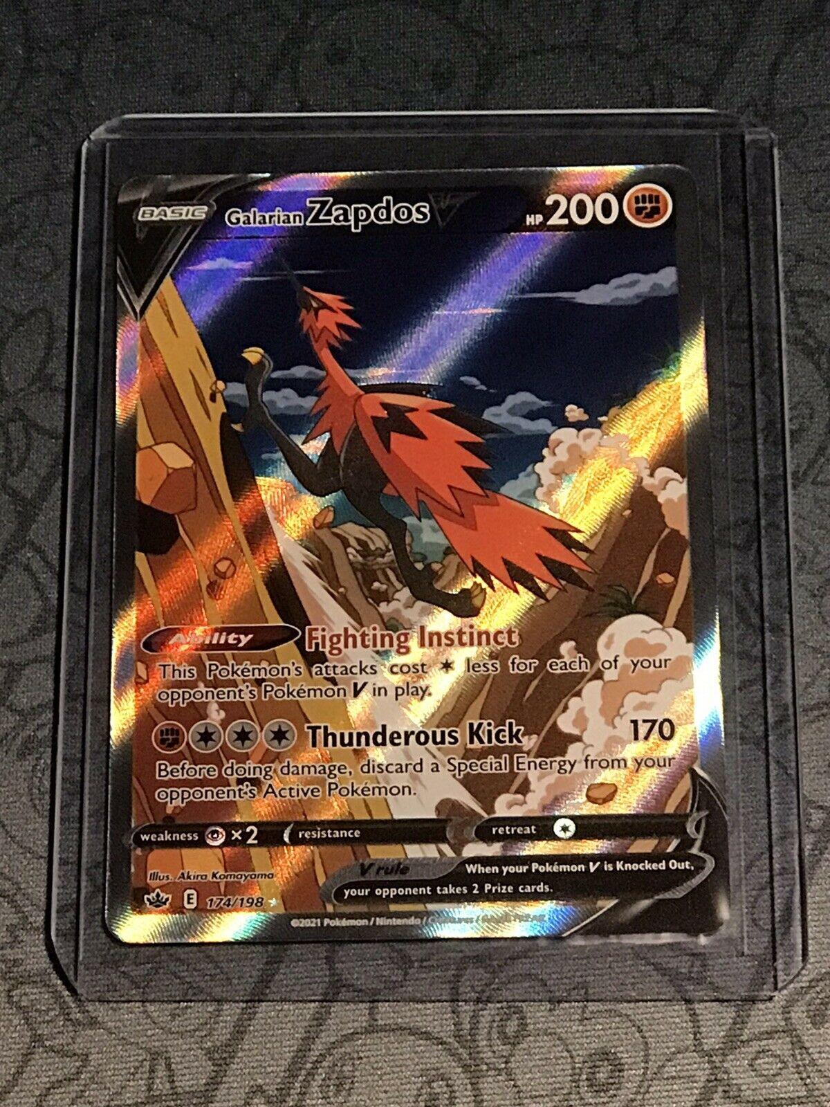 Galarian Zapdos V 174/198 Alternate Full Art Chilling Reign Pokemon Card