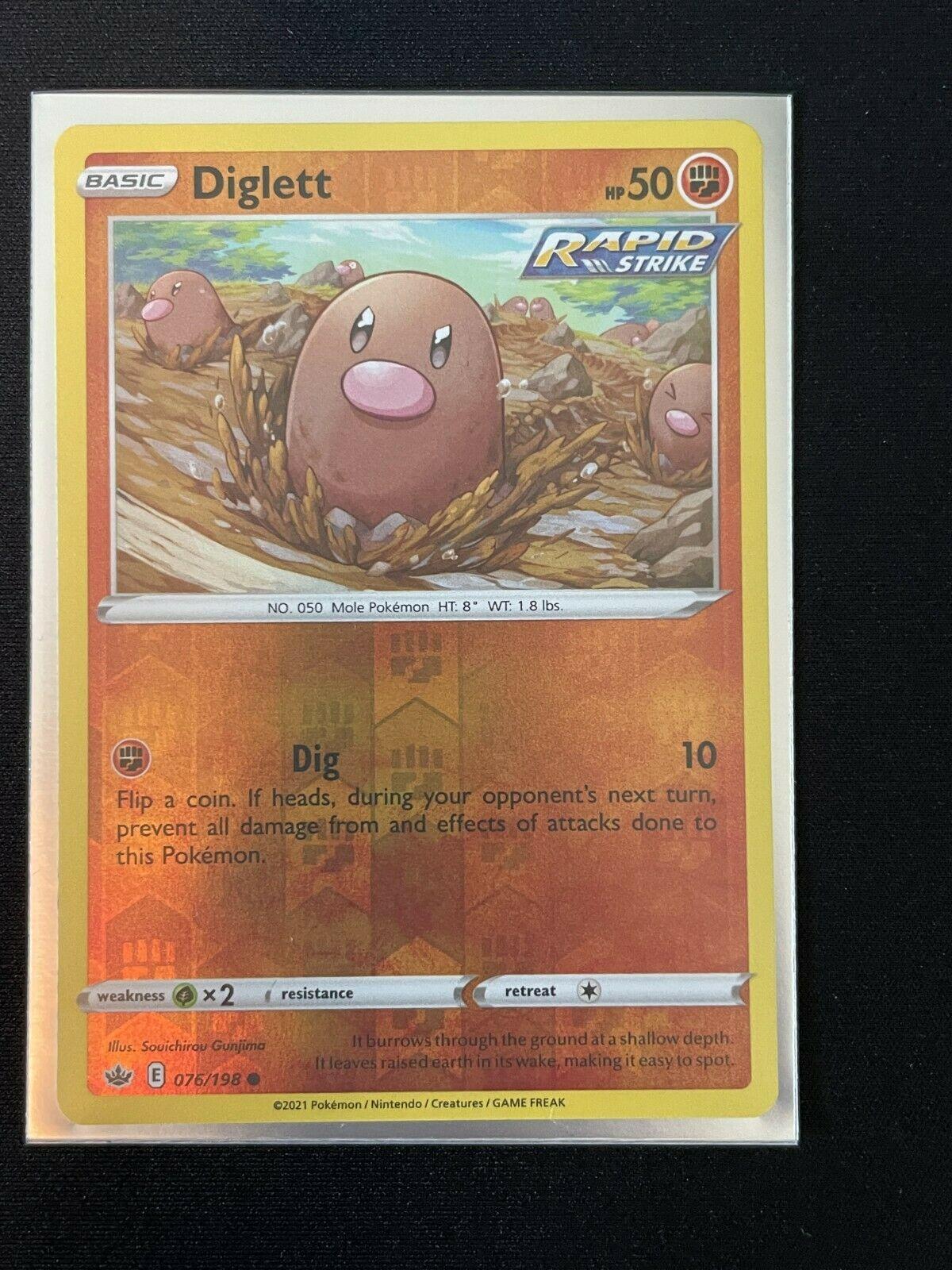 Pokemon Chilling Reign Diglett 076/198 Common Reverse Holo NM